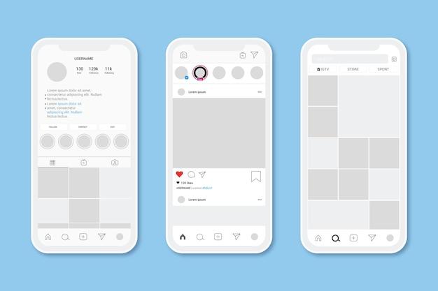 Instagram-profilschnittstellenschablone mit handy