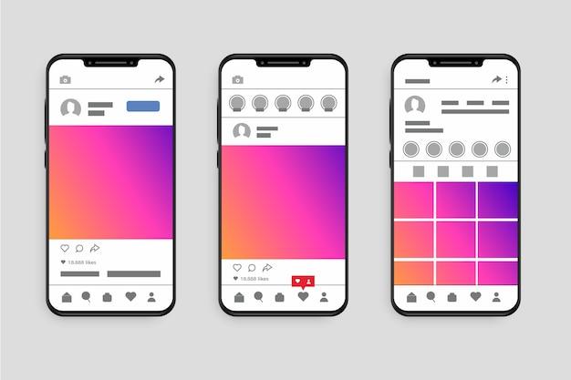 Instagram-profilschnittstellenschablone mit telefon