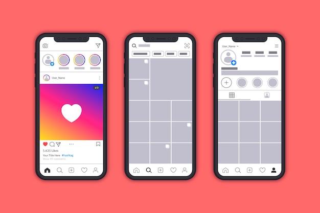 Instagram profilschnittstellenvorlage mit handy