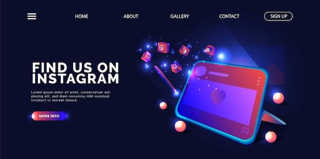 Instagram promotion design mit tablet landing page.