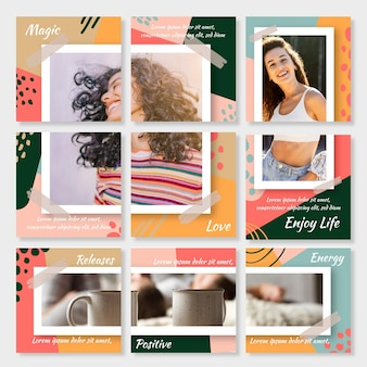 Instagram puzzle feed template set