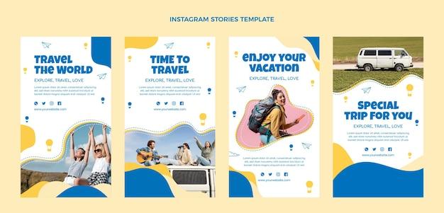 Instagram reisegeschichten im flachen design
