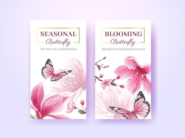 Instagram-schablone mit aquarellillustration des blütenvogelkonzeptdesigns