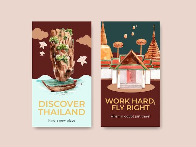 Instagram-schablonensatz mit thailand-reisekonzept für soziale medien im aquarellstil