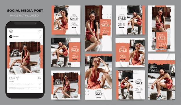 Instagram set fashion sale pastell einfaches layout social media post feed