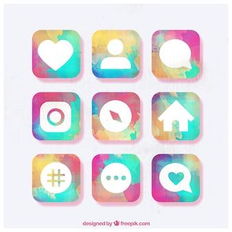 Instagram social media icon-sammlung