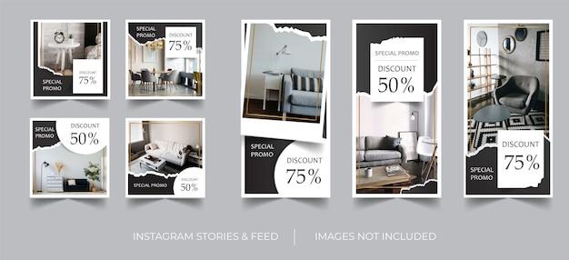 Instagram stories & feed template schwarz elegant