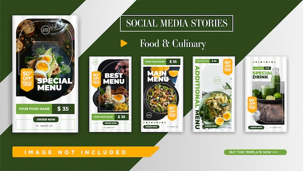 Instagram stories promotion-vorlage für food & culinary. elegantes banner design für social media promotion.