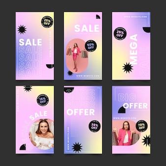 Instagram-story-sammlung zum verkauf mit farbverlauf