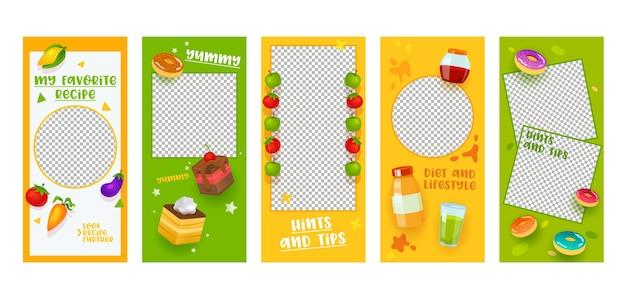 Instagram story vorlage food diet rezept mobile app seite onboard screen set. buntes obstgemüse-kuchen-ideen-design. social media hintergrund website oder webseite. flache karikatur-vektor-illustration