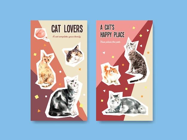 Instagram story-vorlagen mit niedlichen katzen