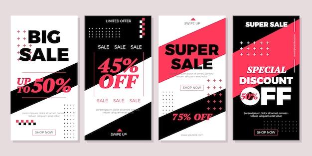 Instagram-storys-paket für den verkauf im flachen design