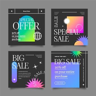 Instagram-verkaufspost-sammlung mit farbverlauf