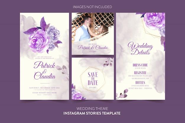 Instagram-vorlage für hochzeitseinladungskarte mit aquarellblume und -blättern