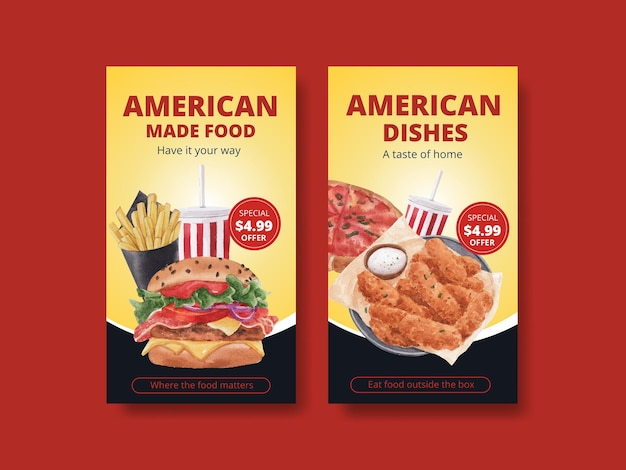 Instagram-vorlage mit amerikanischem lebensmittelkonzept, aquarellstil
