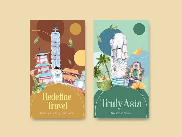 Instagram-vorlage mit asien-reisekonzeptentwurf für aquarellvektorillustration der sozialen medien und des online-marketings