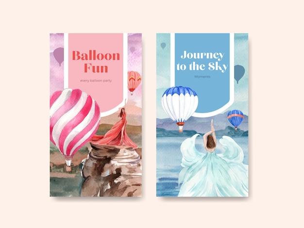 Instagram-vorlage mit ballon-fiesta-konzeptentwurf für online-marketing und aquarellvektorillustration der sozialen medien