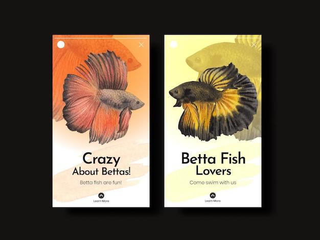 Instagram-vorlage mit betta-fisch im aquarell-stil