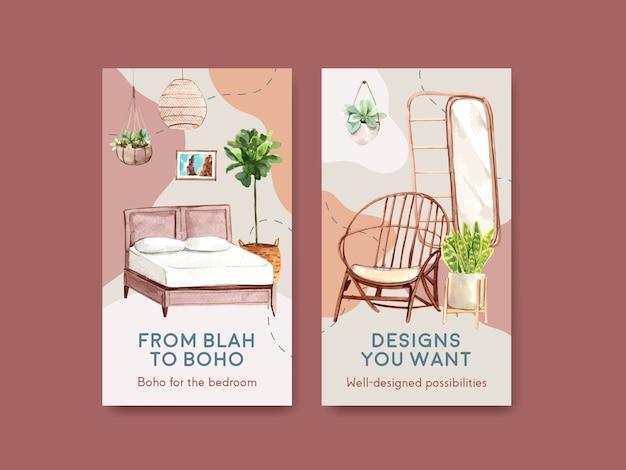 Instagram-vorlage mit boho-möbel-konzeptdesign für social media und online-marketing