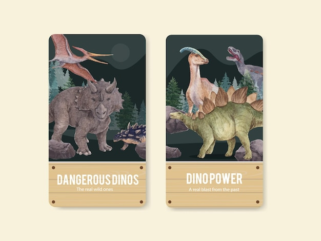 Instagram-vorlage mit dinosaurierkonzept, aquarellstil
