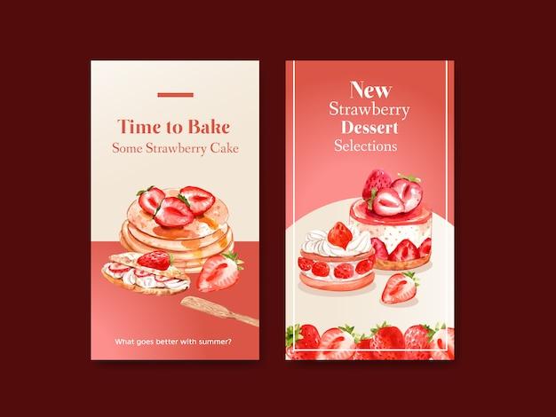 Instagram-vorlage mit erdbeer-backdesign
