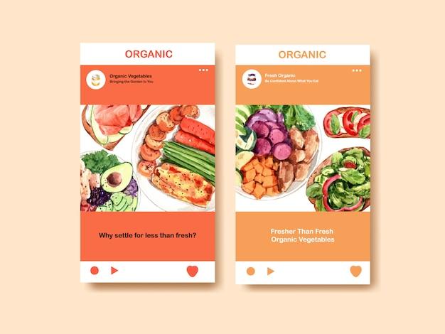 Instagram-vorlage mit gesundem und biologischem lebensmitteldesign