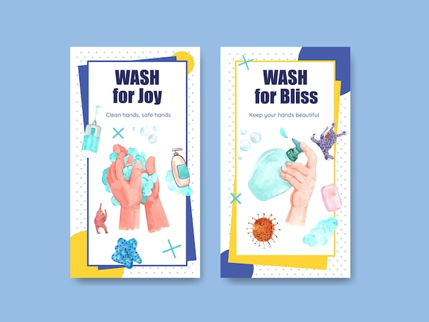 Instagram-vorlage mit globalem handwaschtag-konzeptdesign