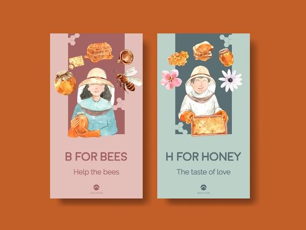 Instagram vorlage mit honig für social media aquarell