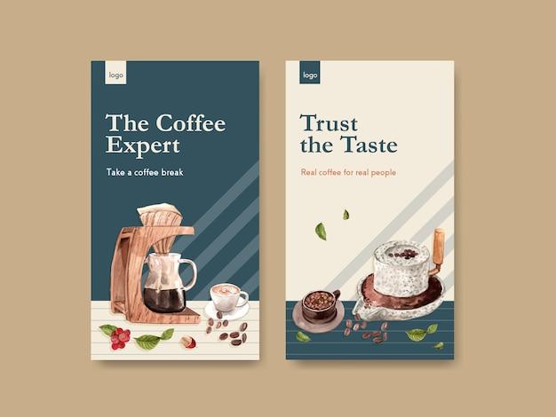 Instagram-vorlage mit internationalem kaffeetag-konzeptdesign