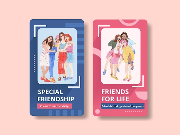 Instagram-vorlage mit national friendship day-konzept, aquarell-stil