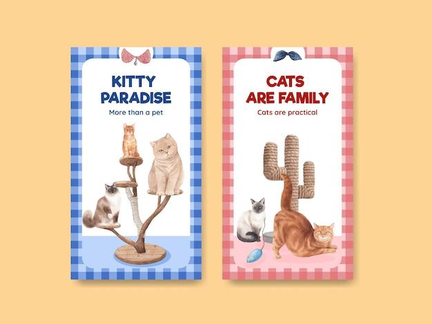Instagram vorlage mit niedlichen katze