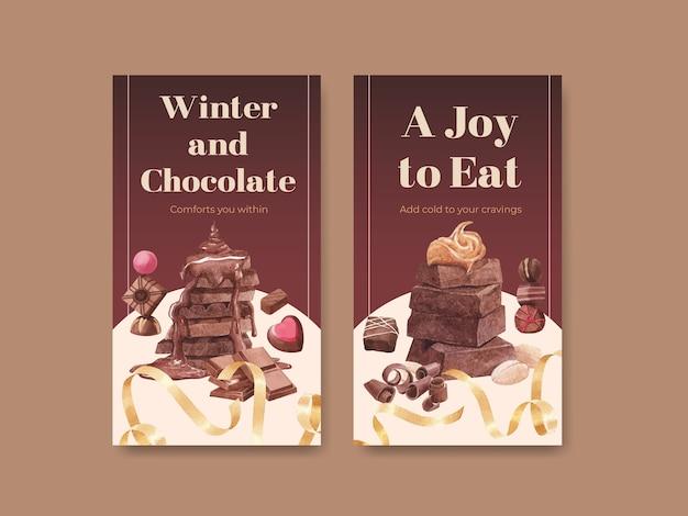 Instagram-vorlage mit schokoladenwinterkonzeptentwurf für online-marketing und soziale medienaquarellvektorillustration