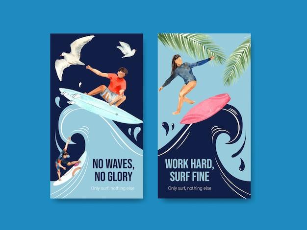 Instagram vorlage mit surfbrettern am strand Kostenlosen Vektoren