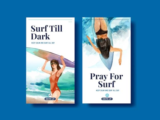 Instagram-vorlage mit surfbrettern am stranddesign für tropische sommer- und entspannungsaquarellvektorillustration der sommerferien