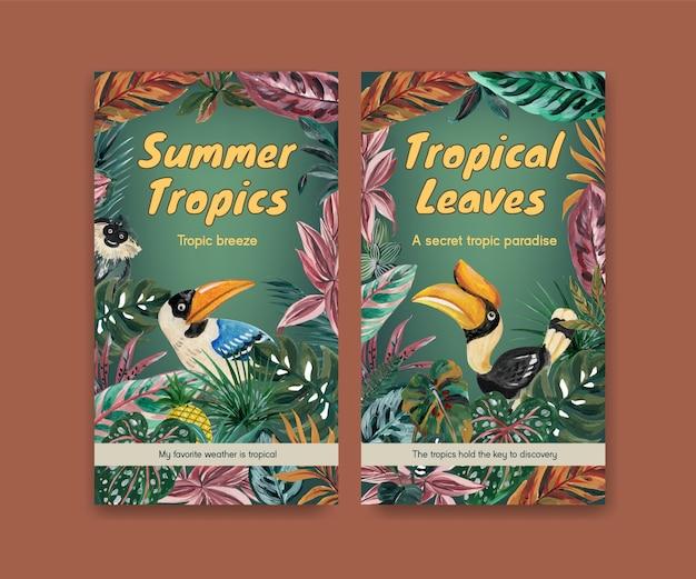 Instagram-vorlage mit tropischem zeitgenössischem konzeptdesign für soziale medien und online-community-aquarellillustration