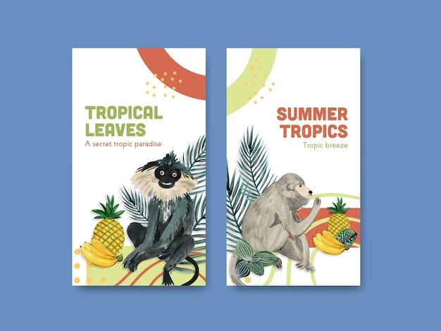 Instagram-vorlage mit tropischem zeitgenössischem konzeptdesign für soziale medien und online-gemeinschaft