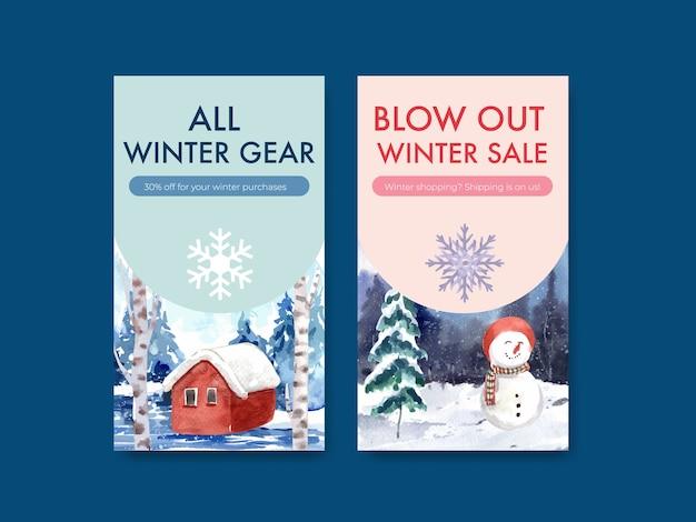 Instagram-vorlage mit winterschlussverkauf für soziale medien im aquarellstil