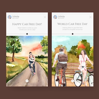 Instagram-vorlage mit world car free day-konzeptdesign für social media und internet-aquarell.