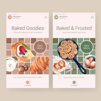 Instagram-vorlagen für den verkauf von bäckereien