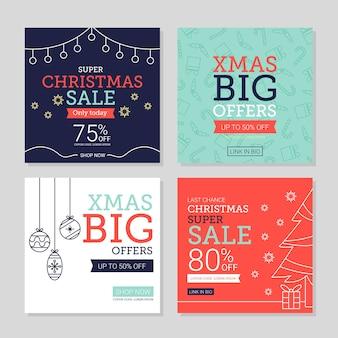 Instagram weihnachtsverkaufspostensatz