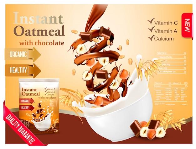 Instant haferflocken mit schokolade und haselnuss werbung konzept. milch fließt in eine schüssel mit getreide und nüssen. .