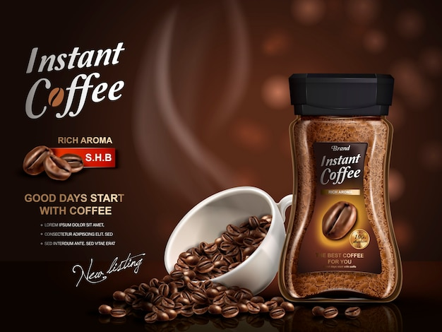 Instant-kaffee-anzeige, mit kaffeebohnen-elementen, bokeh-hintergrund