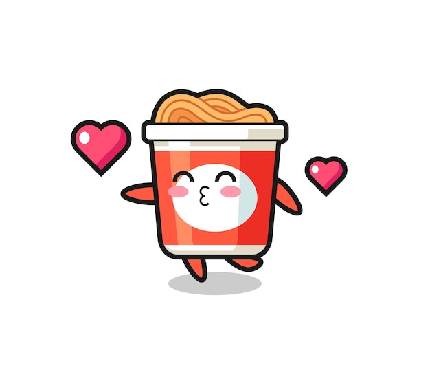Instant-nudel-charakter-cartoon mit küssender geste, süßem design für t-shirt, aufkleber, logo-element