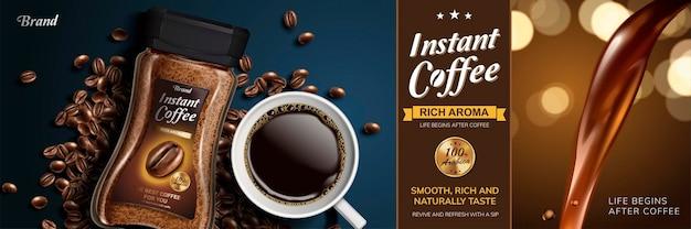 Instantkaffee mit nach unten fließender flüssigkeit und draufsicht auf schwarzen kaffee und bohnen, 3d-darstellung