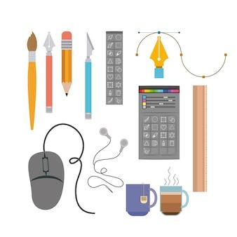 Instrumente zur hand und multimedia-design