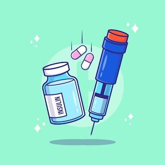 Insulinflasche und spritze cartoon-vektor-illustration. diabetes-konzept isolierter premium-vektor.