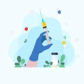 Insulinspritzen. spritze in der hand des arztes. krankenwagen arzt. spritze in der hand grippeschutzimpfung. injektionsspritze. hand hält eine spritze. medizin-gesundheitskonzept. medizinischer hintergrund