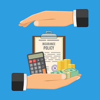 Insurance services concept hand hält versicherung