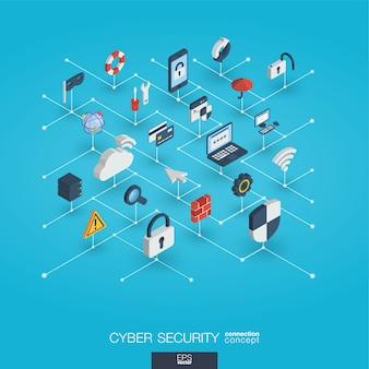 Integrierte 3d-web-symbole für cybersicherheit. isometrisches interaktionskonzept für digitale netzwerke.