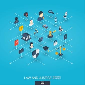 Integrierte 3d-web-symbole für recht und gerechtigkeit. isometrisches konzept des digitalen netzwerks.